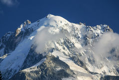 Panoramic view of Mont Blanc Massif. Bossons Glacier in the Fren Royalty Free Stock Photo