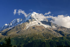 Panoramic view of Mont Blanc Massif. Bossons Glacier in the Fren Stock Photography