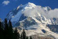 Panoramic view of Mont Blanc Massif. Bossons Glacier in the Fren Royalty Free Stock Image