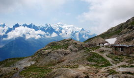 Panoramic view on Mont Blanc massif Stock Images