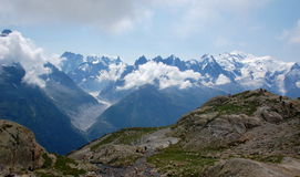 Panoramic view on Mont Blanc massif Royalty Free Stock Photography