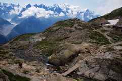 Panoramic view on Mont Blanc massif Royalty Free Stock Photos