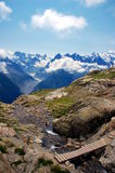 Panoramic view on Mont Blanc massif Royalty Free Stock Image
