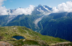 Panoramic view on Mont Blanc massif Royalty Free Stock Images