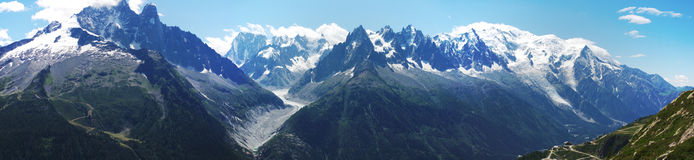 Panoramic view on Mont-Blanc massive Stock Image