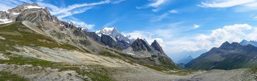 Panoramic view of Mont Blanc valley. France-Italy Border royalty free stock image