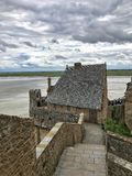 Panoramic View of Mont Saint Michele, Normandy, France. Panoramic View of Mont Saint stock photo