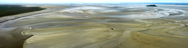 Panoramic view from Mont St. Michel (Normandy) Royalty Free Stock Photo