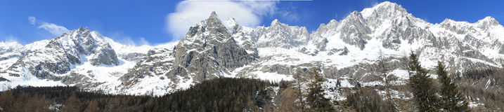 Panoramic View of Monte Bianco mountains Royalty Free Stock Image