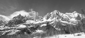 Panoramic View of Monte Bianco mountains Stock Photo