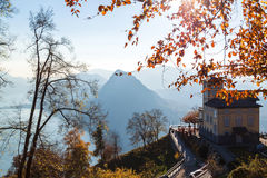 Panoramic view on Monte Bre, Lugano, Switzerland Royalty Free Stock Images