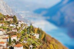 Panoramic view on Monte Bre, Lugano, Switzerland. Miniature Royalty Free Stock Image