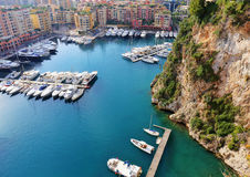 Panoramic view of Monte Carlo harbour Royalty Free Stock Images
