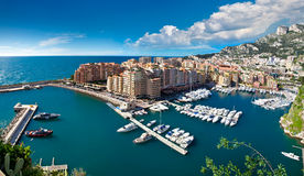 Panoramic view of Monte Carlo harbour Stock Image
