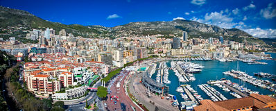 Panoramic view of Monte Carlo in Monaco. Royalty Free Stock Photo