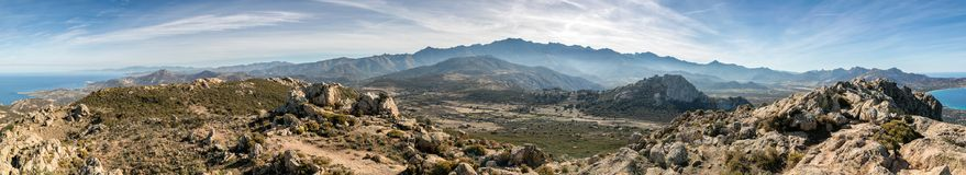 Panoramic view of Monte Grosso and the mountains of Corsica Royalty Free Stock Image