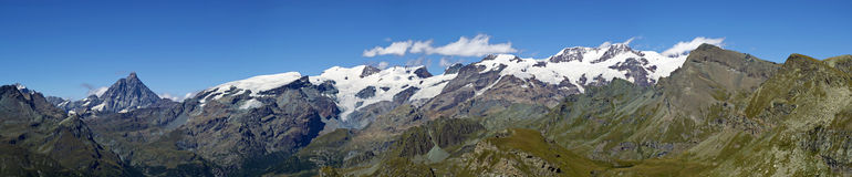 Panoramic view of Monte Rosa Cervino Matterhorn stock photography