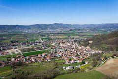 Panoramic view of Montecchio Maggiore. Seen from  the  Romeo`s Tower , Veneto Stock Photography