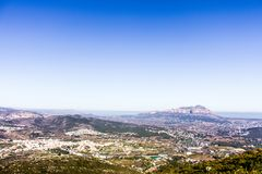 Panoramic view of Montgó mountain in Denia and Javea, Spain. royalty free stock photo