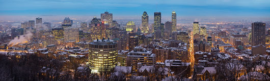 Panoramic view of the Montreal skyline. A high resolution panoramic view of downtown Montreal during winter as viewed from Mount Royal at dusk Royalty Free Stock Images