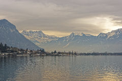 Panoramic View of Montreux and Lake Geneva at sunset in winter Royalty Free Stock Images