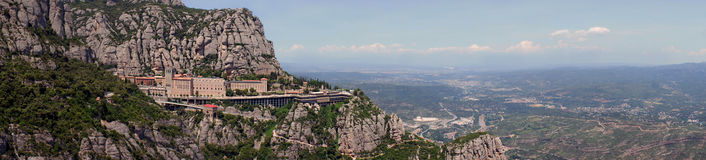 Panoramic view of Montserrat Monastery near Barcelona Royalty Free Stock Photo
