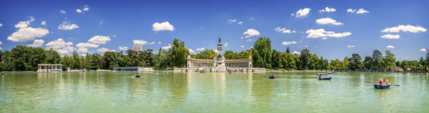 Panoramic view of Monument to Alfonso XII, Buen Retiro park, and Stock Photos