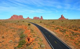 Panoramic View of Monument Valley & Highway Royalty Free Stock Photography