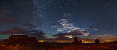 Panoramic view of Monument Valley at Night stock photo