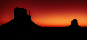 Panoramic view of Monument Valley at sunrise Royalty Free Stock Photography
