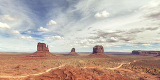 Panoramic view of the Monument Valley. Stock Image