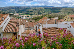 Panoramic view from Morella walls. Stock Photo
