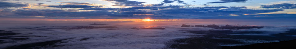 Panoramic view of morning mist with mountain at sunrise in Phu Kradueng national park ,Loei Thailand Stock Image
