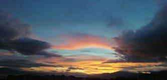 Panoramic view of morning sunrise royalty free stock photo