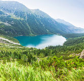 Panoramic view of Morskie Oko lake, Poland Royalty Free Stock Photography