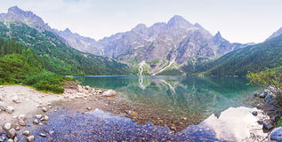 Panoramic view of Morskie Oko lake, Poland Stock Photos