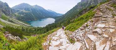 Panoramic view of Morskie Oko lake, Tatra Mountains Stock Photos