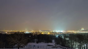 Panoramic view of Moscow City, Russia, from. Sparrow Hills day to night transition timelapse 4K stock video