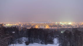 Panoramic view of Moscow City, Russia, from. Sparrow Hills day to night transition timelapse 4K stock video footage