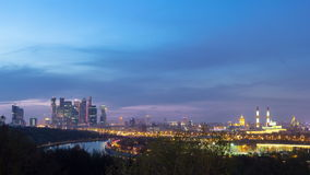 Panoramic view of Moscow City, Russia, from. Sparrow Hills day to night transition timelapse 4K stock footage