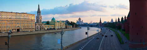 Panoramic view of Moscow in  evening Royalty Free Stock Images