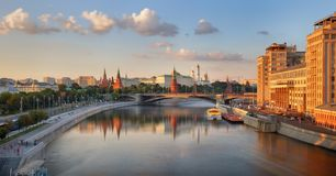 Panoramic view of Moscow, Moskva river and Kremlin. stock photo