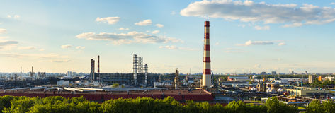 Panoramic view of Moscow Oil-processing factory Royalty Free Stock Photo