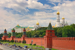 Panoramic view on Moscow Red Square, Kremlin towers stars and Kremlin Palace, Ivan bell tower church. Red Square city park. Famous. Moscow holidays vacation Stock Photo
