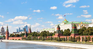 Panoramic view Moskva River, Kremlin, Moscow City Royalty Free Stock Images