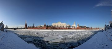 Panoramic View of the Moskva River and the Kremlin winter day, Moscow, Russia Stock Photos