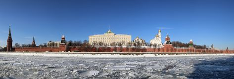 Panoramic View of the Moskva River and the Kremlin winter day, Moscow, Russia Stock Image