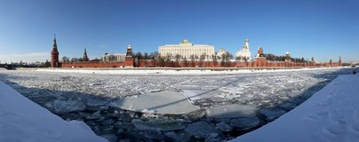 Panoramic View of the Moskva River and the Kremlin winter day, Moscow, Russia Royalty Free Stock Image
