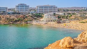Panoramic view of the most famous complex of hotels Malta in Golden Bay. Panoramic view of the most famous complex of hotels Malta in Golden Bay Royalty Free Stock Photo