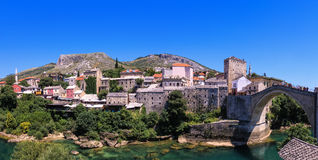 Panoramic view of Mostar, Bosnia and Herzegovina. View at the Old Town in Mostar with emerald river Neretva. Bosnia and Herzegovina Royalty Free Stock Photos